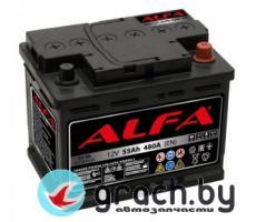 Аккумулятор автомобильный ALFA (Альфа) Hybrid 55 А.ч.