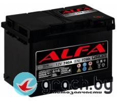 Аккумулятор автомобильный ALFA (Альфа) Hybrid 77 А.ч.